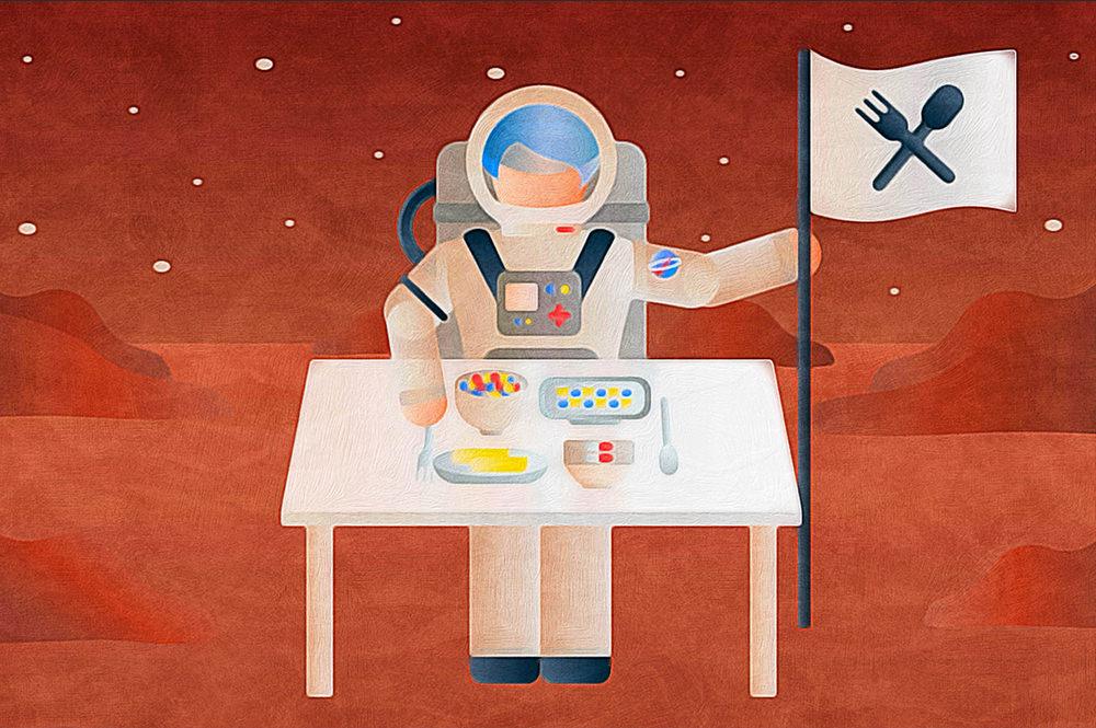 宇宙空間で人工的な食事を摂る人