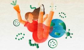 微生物をめぐる生態系のイメージイラスト